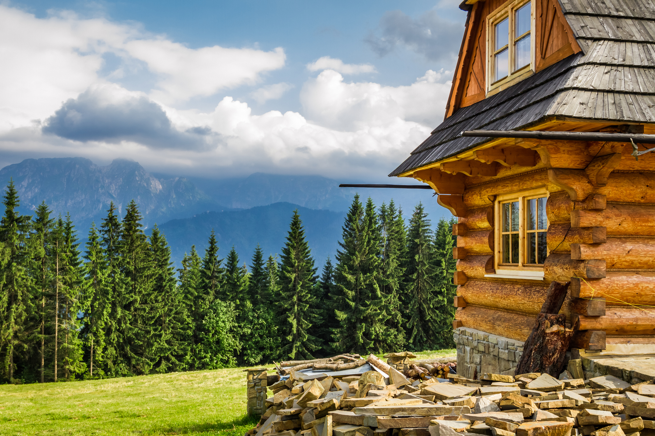 wood cottage with a beautiful view